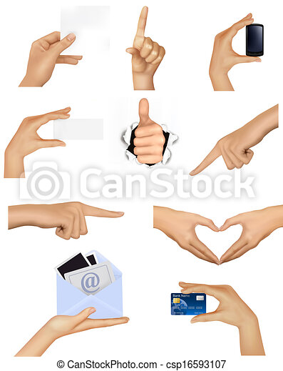 verschieden, satz, geschäftsillustration, vektor, halten hände, objects. - csp16593107