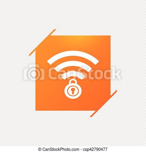 Verschlossen, zeichen., wifi, symbol., wireless., passierschein, wi ...