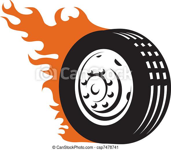 versenyzés, tüzes, autógumi - csp7478741
