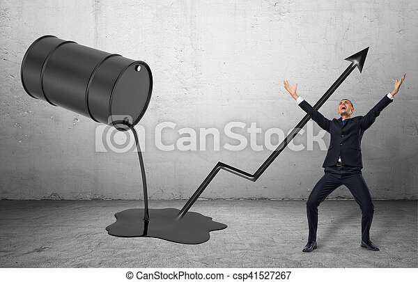 verser, liquide, incliné, pose, il, célébrer, noir, homme affaires, baril, dehors, heureux - csp41527267