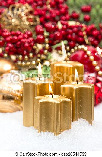 Versiering burning goud kaarsjes advent vier rood for Versiering goud