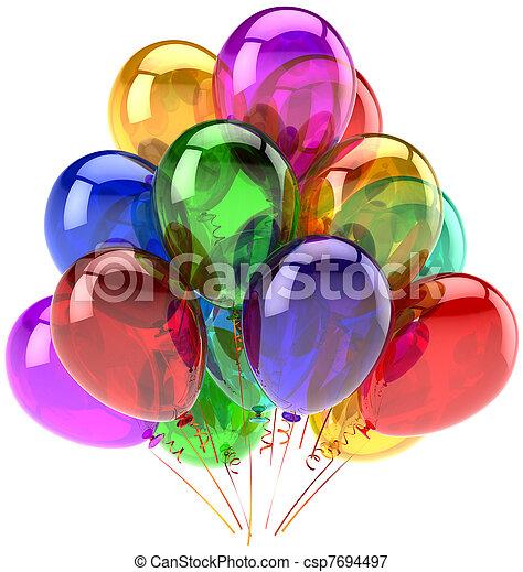 versiering, feestje, jarig, ballons - csp7694497
