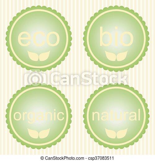 vert, étiquettes, ensemble - csp37083511