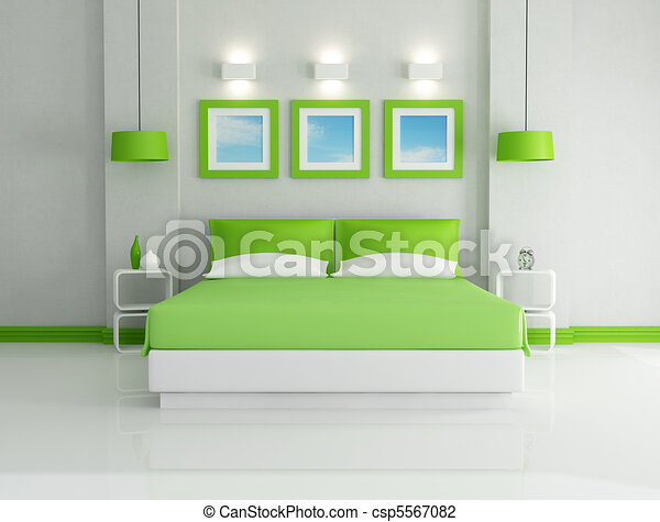 Art, mur, images, moderne, -, rendre, clair, vert, chambre à coucher ...