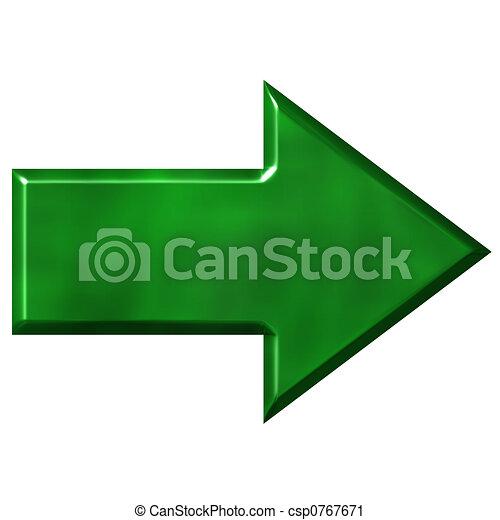vert, flèche, 3d - csp0767671