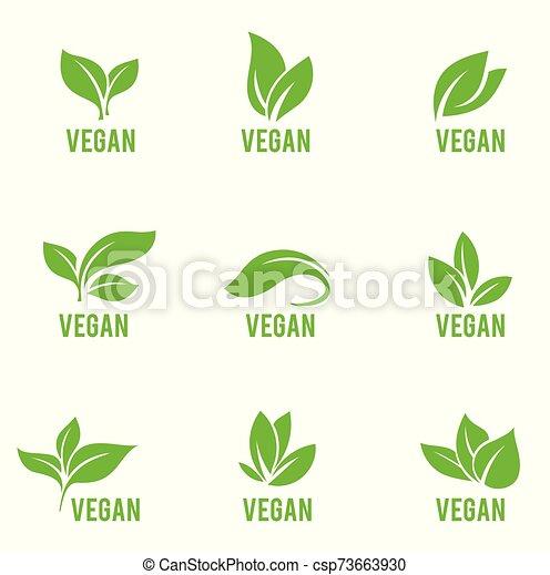 vert, formes, plants., icône, feuilles, vecteur, blanc, isolé, ensemble, arrière-plan., divers, arbres - csp73663930