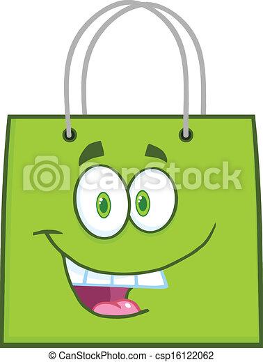 vert, heureux, sac à provisions - csp16122062