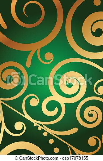 vert, ornement, fond, or - csp17078155