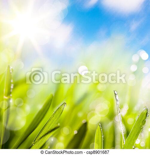 vert, résumés, naturel, fond, printemps - csp8901687