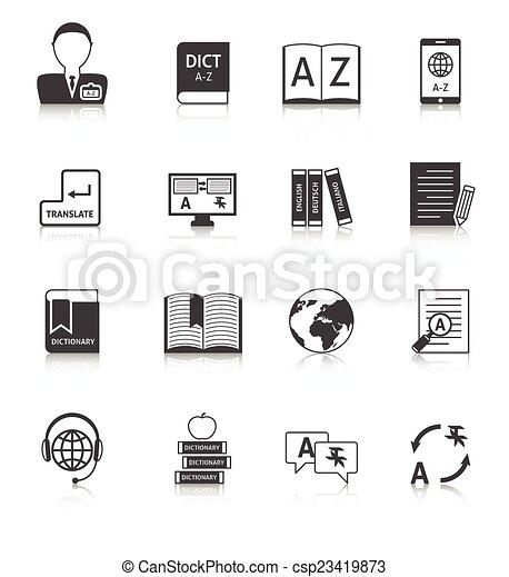 vertaling, set, woordenboek, iconen - csp23419873