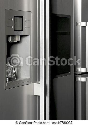 Verteiler, glas, kühlschrank, eis, detail. Senkrecht,... Zeichnungen ...