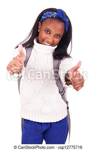 verticaal, jonge, student, afrikaan - csp12775716