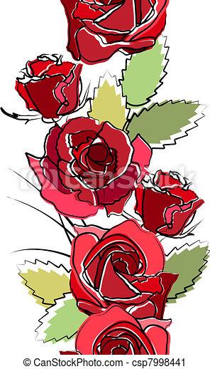 verticaal, seamless, rozen, witte , grens, rood - csp7998441