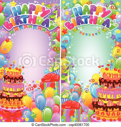 Vertical banner birthday bright with space for text - csp40061700