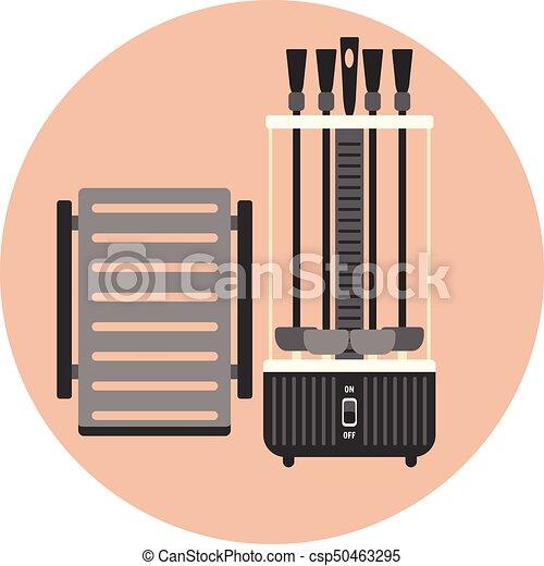 Vertical BBQ grill, kitchen shashlik kebab maker - csp50463295