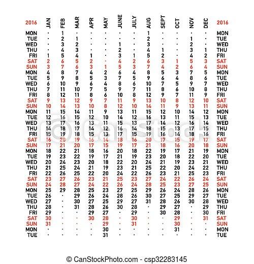 vertical calendar 2016 week starts monday