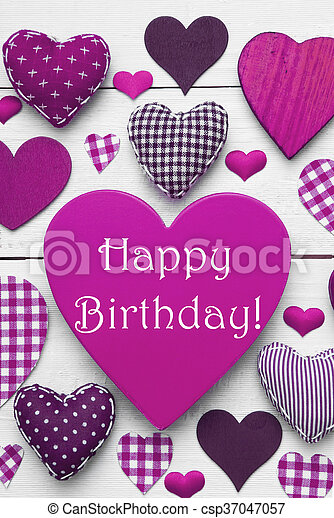 Vertical Card With Purple Heart Texture Happy Birthday Purple