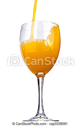 Vertical image of orange juice poured into a wine glass - csp3339091
