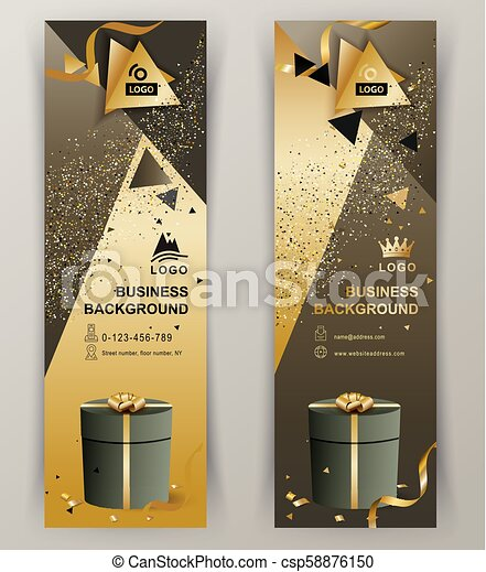 Vertical luxury gold brown banners with green gift. Triangle design elements - csp58876150