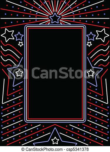 Vertical neon patriotic sign - csp5341378