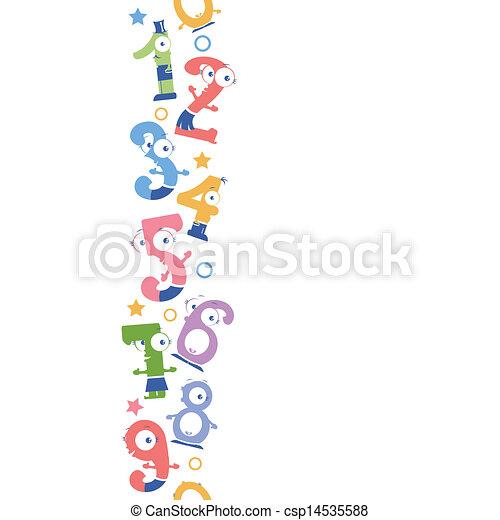 Números de diversión verticales en la frontera de fondo - csp14535588