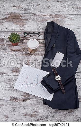 Vertical shot office desk accessories. - csp86742101