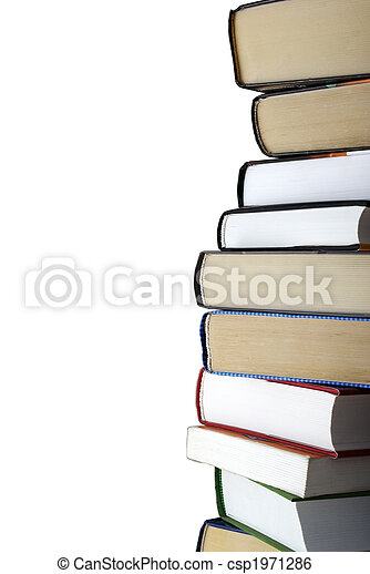 Vertical stack of different books isolated on white background. Clipping path. - csp1971286