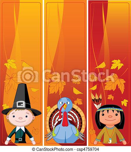 Vertical Thanksgiving Banners - csp4759704