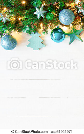Turquoise Christmas Lights.Vertical Turquoise Christmas Banner Copy Space White Wood