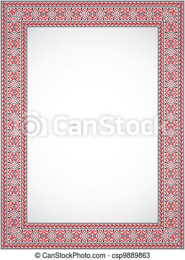 Vertical vector frame - cross stitch ukrainian ornament. The ...