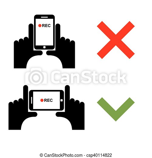 Vertical video shoot impossible. Horizontal recording correctly. Sign template for shooting on smartphone camera - csp40114822