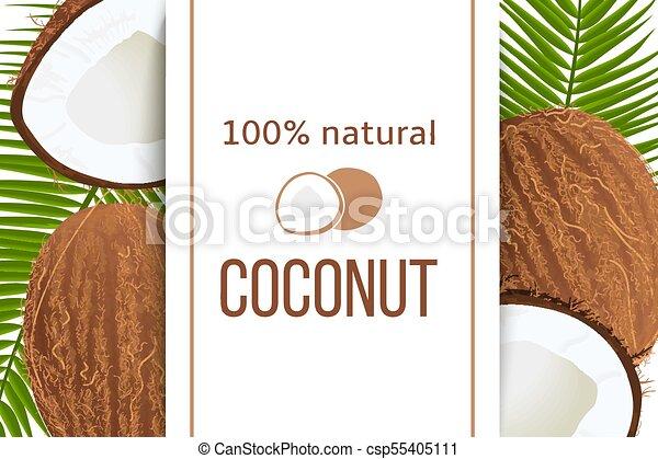 verticale, maturo, testo, foglie, percento, natural., tropicale, noci cocco, striscia, label., palma, fesso, intero, 100 - csp55405111