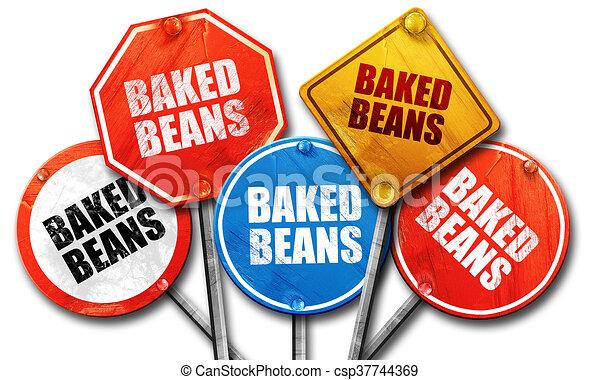 vertolking, straat tekeent, bonen, bakt, 3d - csp37744369
