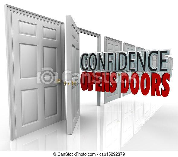 vertrauen, öffnet, wörter, türöffnung, türen - csp15292379