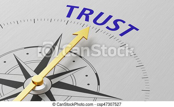 vertrouwen, naald, woord, wijzende, kompas - csp47307527