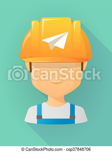 vervelend, helm, arbeider, papieren vliegtuig, veiligheid, avatar, mannelijke  - csp37848706