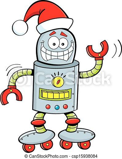 vervelend, hoedje, robot, kerstman, spotprent - csp15938084