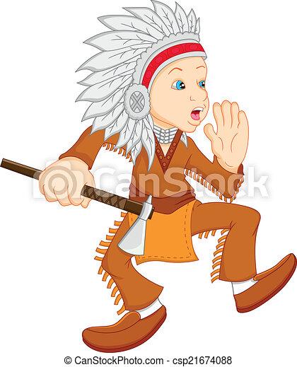 vervelend, jongen, amerikaan indiaas, kostuum - csp21674088