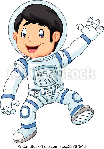 vervelend, jongen, weinig; niet zo(veel), astronau, spotprent - csp33267948