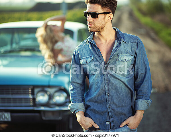 vervelend, modieus, kerel, zonnebrillen, mooi - csp20177971