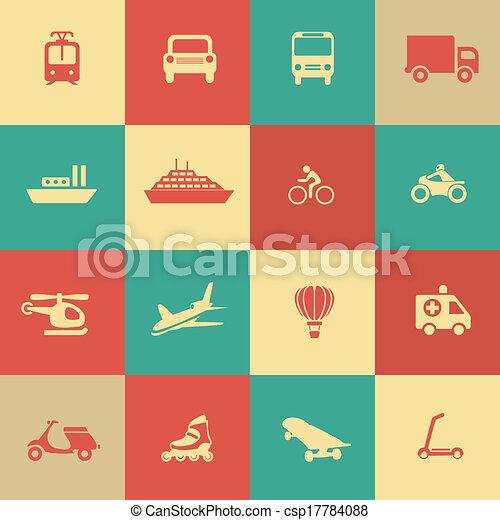 vervoer, communie, ontwerp, iconen, retro - csp17784088
