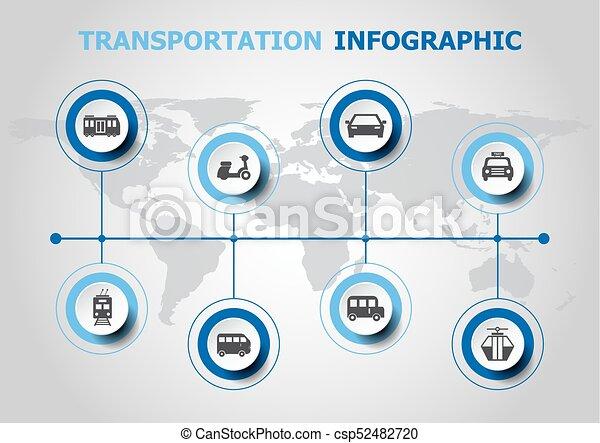 vervoer, infographic, ontwerp, iconen - csp52482720