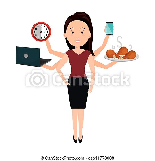 Very busy person character vector illustration design.