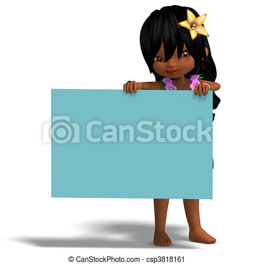 very cute hawaiian cartoon girl invites you. 3D rendering and shadow over white - csp3818161