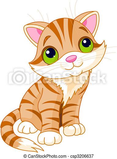 very cute kitten with green eyes vector illustration rh canstockphoto com free cute kitten clipart cute kitten face clipart