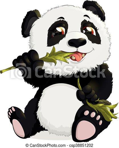 Very Cute Panda Eating Bamboo Bear Eats Bamboo Leaves On
