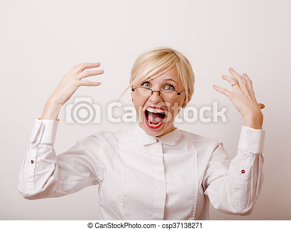 Very Emotional Businesswoman In Glasses Blond Hair On White Background Teacher Hands Up Posing Isolated Pointing Gesturing
