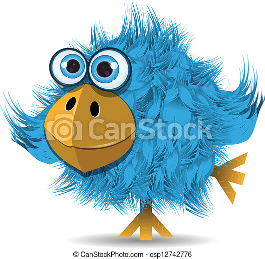 Illustration, very funny blue bird with big eyes.
