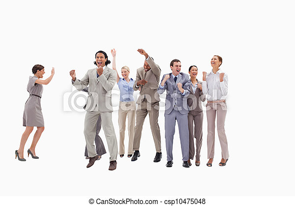 Very happy business people jumping and clenching their fists - csp10475048