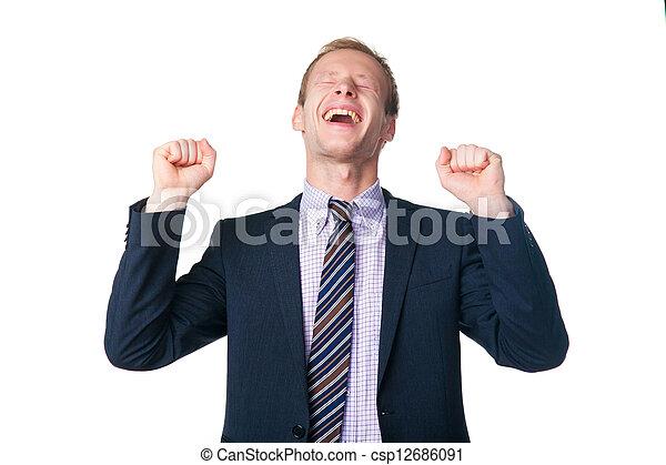 very happy handsome businessman - csp12686091